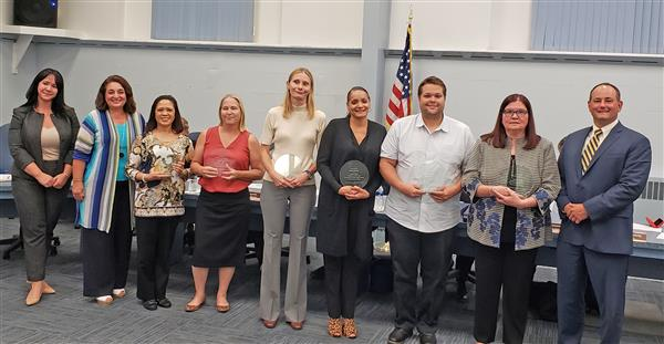 Support staff members of the year pose for photo