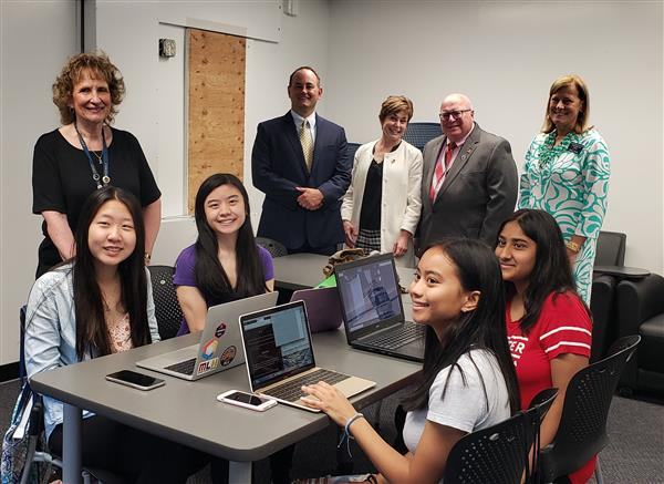 Assistant Commissioner visits the students competing in Girls Go CyberStart competition