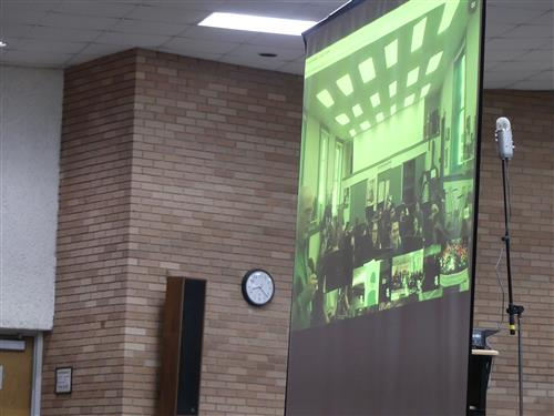 Freehold High School's band seen on the screen during the Virtual Concert