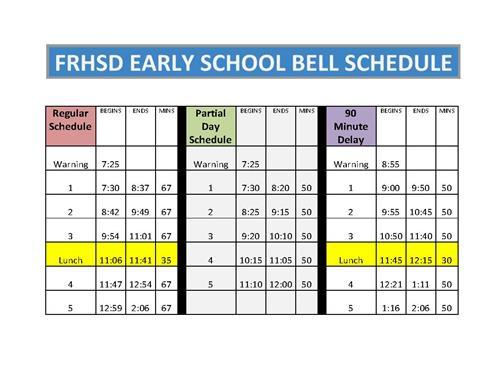 student handbook bell schedules