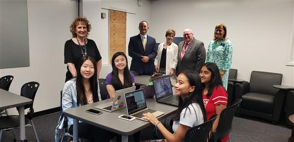 Assistant Commissioner Eno & Monmouth County Superintendent of Schools Richens meet with FHS Girls Go CyberStart competitors