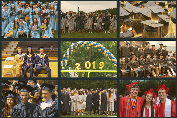 Collage of scenes from graduation