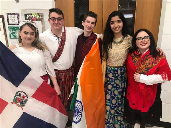Students celebrate during international day