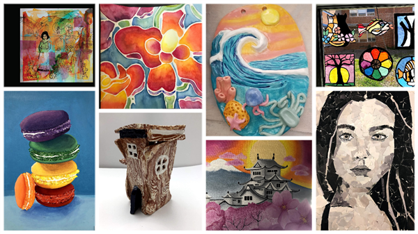 collage of various student art work