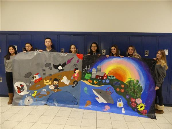 Marlboro's student show the completed mural