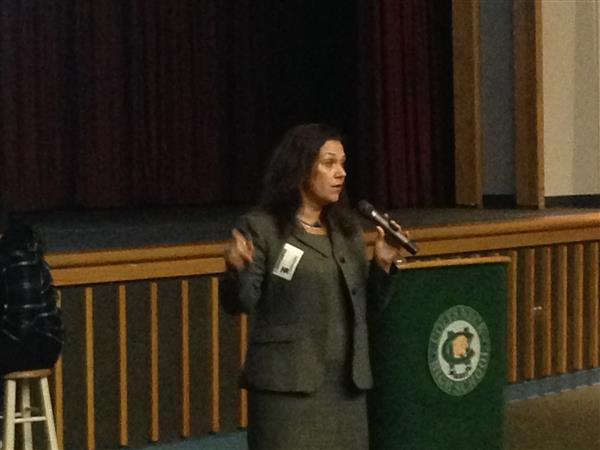 Judge Dalton speaks with students at Colts Neck
