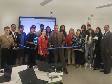 The official ribbon cutting ceremony at the mathematics lab