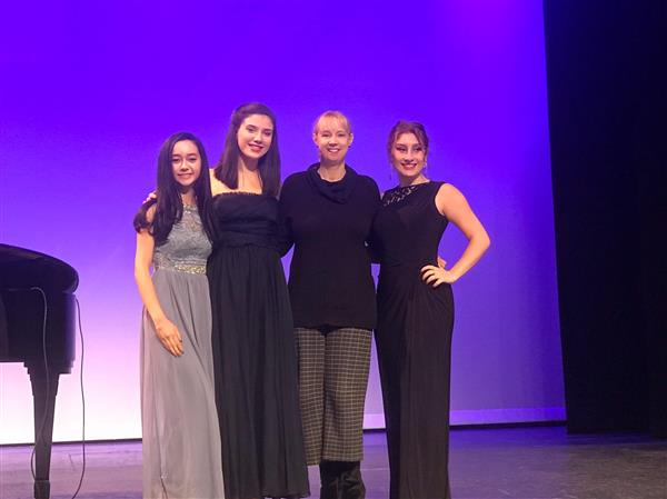 Ciara DiMaiolo, Maya Ben-Harush and Julia Lupi with teacher Regina McAllen