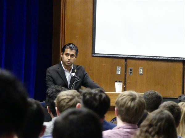 Senator Gopal speaks with students