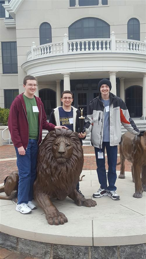 Winning team of students at Widener University contest