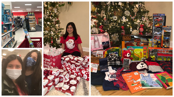 collage of photos with students purchasing gifts