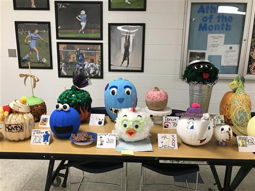 Decorated Pumpkins on Display