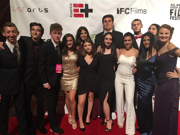 Howell students on the red carpet at the All American High School Film Festival