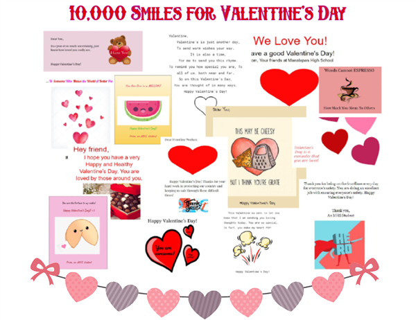 Sample of the valentines SADD distributed