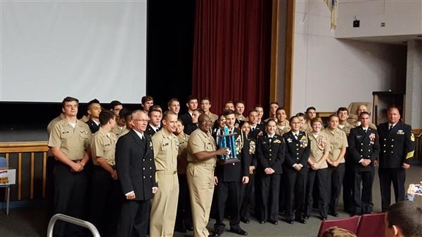 NJROTC Cadets receive their trophy
