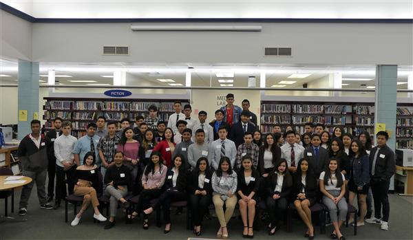 group photo of students participating in Latino Community Leadership Day