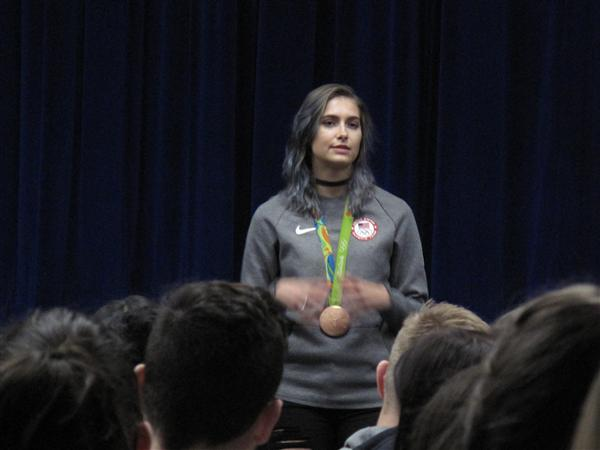 Olympic medalist Monica Aksamit speaks with students at Marlboro High School